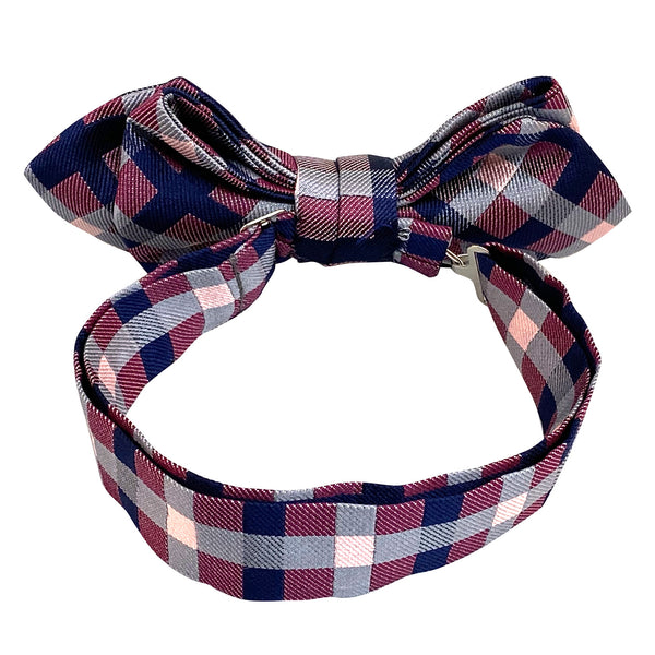 Men's Pre-Tied Adjustable Bow Tie Silk 22. Revival Checkered Plaid Pattern Made in Japan