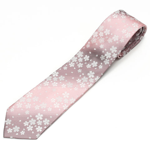 Men's Jacquard Woven 100% Kyoto Silk Tie -24. Eternal Beauty- Cherry Blossoms Pattern Made in Japan