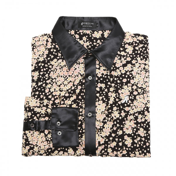 Men's Unisex Sakura Crepe Dress Shirt Long Sleeve -16. Samurai Cherry Blossoms Pattern Made in Japan