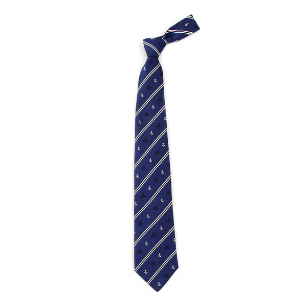 Men's Jacquard Woven 100% Nishijin Kyoto Silk Tie - 04. Adventure - Ship Anchor Stripe Pattern Made in Japan