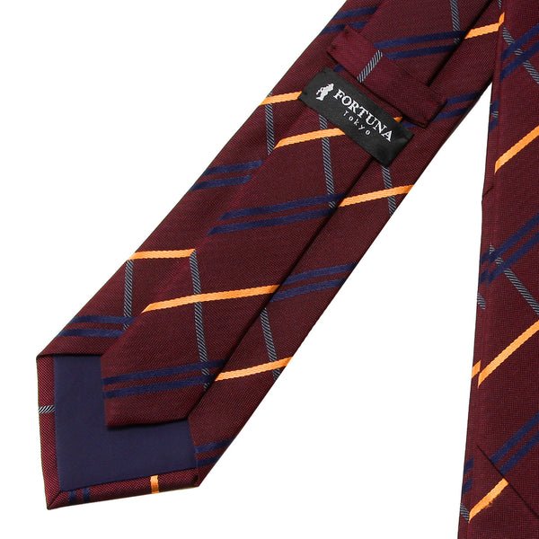 Men's Jacquard Woven 100% Nishijin Kyoto Silk Tie -05. Chance- Check Pattern Made in Japan