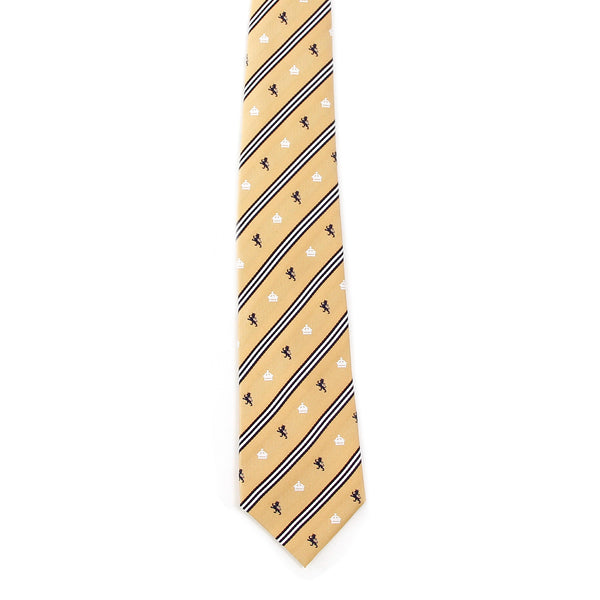Men's Jacquard Woven 100% Nishijin Kyoto Silk Tie -08. King- Lion Crown Stripe Pattern Made in Japan