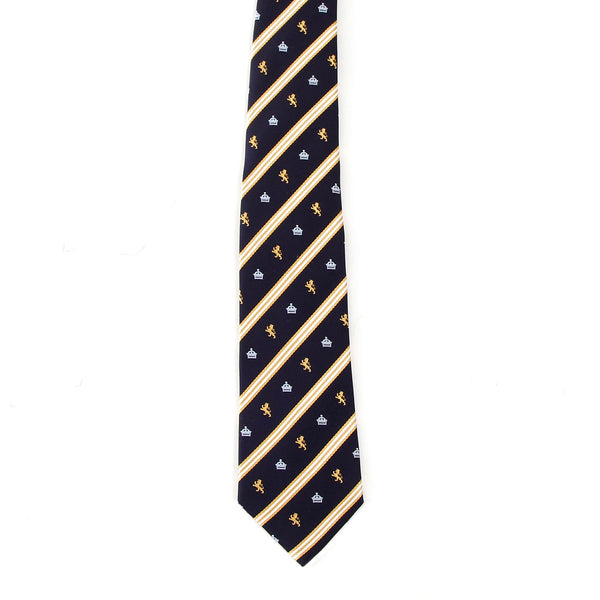Men's Jacquard Woven 100% Nishijin Kyoto Silk Tie -08. King Lion Crown Striped Pattern Made in Japan