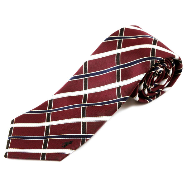 Men's Jacquard Woven 100% Nishijin Kyoto Silk Tie -09. Sacred Check Plaid Pattern Made in Japan