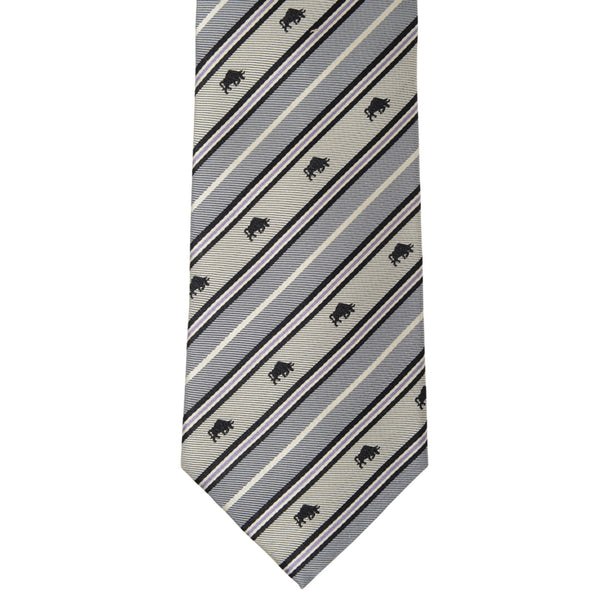 Men's Jacquard Woven 100% Kyoto Silk Tie -17. Success Charging Bull Striped Pattern Made in Japan