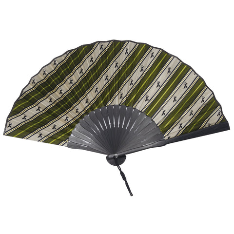 Folding  Fan WithSilk & Bamboo -16. Samurai- Samurai Stripe Pattern Made in Japan (Green)