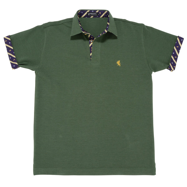 Men's Short Sleeve Sports Polo Shirt -08. King Lion & Crown Design Made in Japan