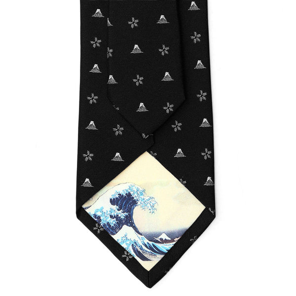 Men's Jacquard Woven 100% Nishijin Kyoto Silk Tie -18. Hokusai- Mt. Fuji Cherry Blossoms Small Figure Pattern Made in Japan