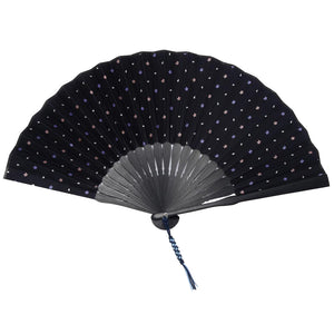 Folding Fan With Silk & Bamboo -15. Sakura - Cherry Blossoms Pattern Made in Japan (Navy Blue)