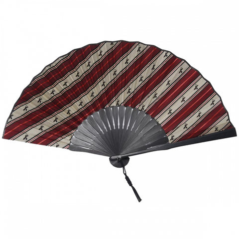 Hand Made Japanese Folding Fan -Striped Pattern Jacquard Woven Kyoto Silk & Bamboo, Made in Japan