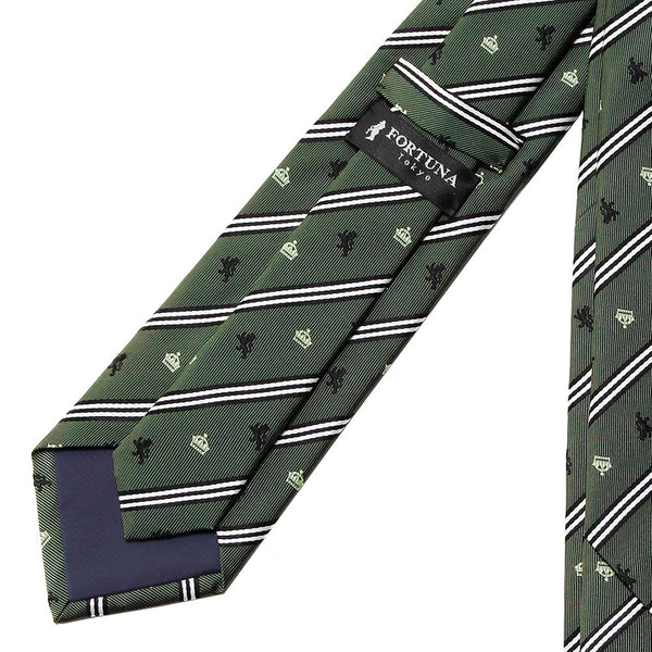 Men's Jacquard Woven 100% Nishijin Kyoto Silk Tie -08. King Lion Crown Stripe Pattern Made in Japan