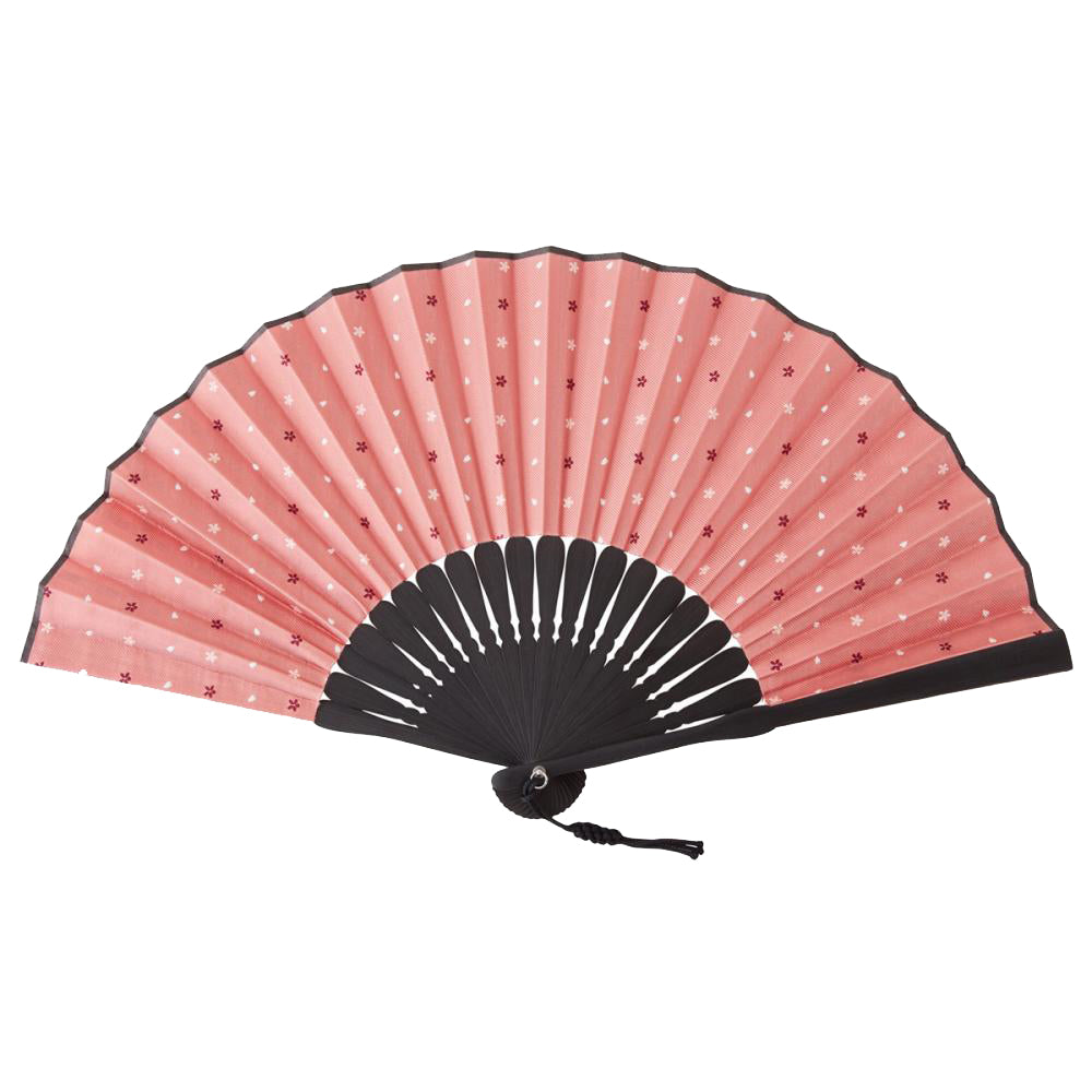 Hand Made Japanese Folding Fan -15.Sakura Cherry Blossoms Pattern with Silk & Bamboo Made in Japan