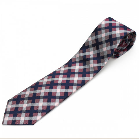 Men's Jacquard Woven 100% Nishijin Kyoto Silk Tie -22. Revival Japanese Block plaid Made in Japan