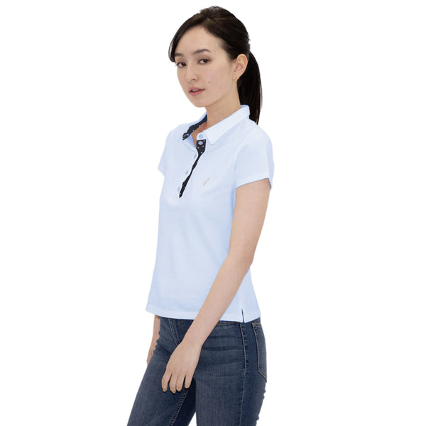 Ladies' Polo Shirt Short Sleeve 100% Cotton -15. Sakura Cherry Blossoms Design Made in Japan