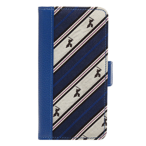 Wallet Case for Apple iPhone 6 7 8 Jacquard Woven Silk Leather 3 Card Holder -06. Samurai- Samurai Stripe Pattern Made in Japan (Blue)