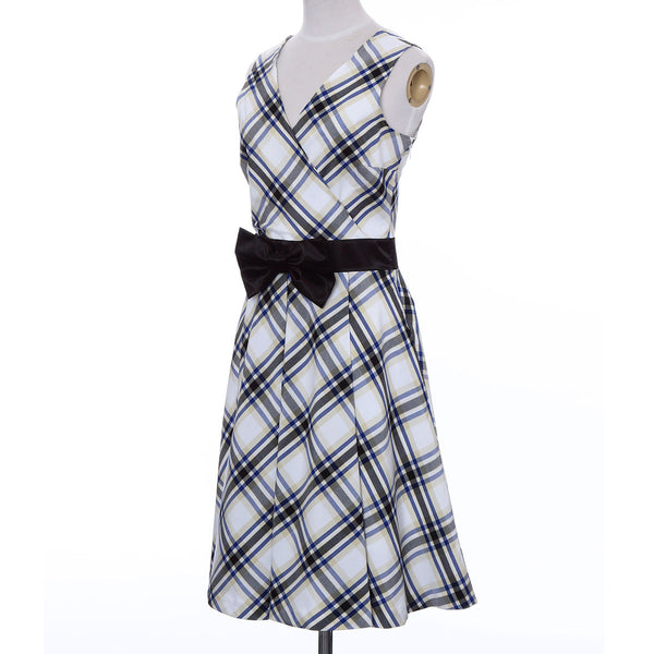 Ladies Wrap One Piece Dress Check Pattern Made in Japan (White)