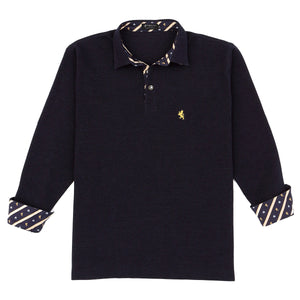 Men's Long Sleeve Sports Fashion Polo Shirt -08. King- Lion and Crown Design - Made in Japan (M/L/LL)