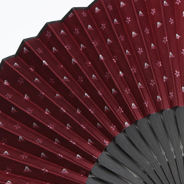 Hand Made Japanese Folding Fan -18.Hokusai- Mt. Fuji Sakura Pattern with Silk & Bamboo, Made in Japan