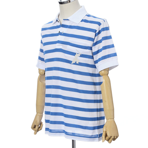 Men's Short Sleeve Cotton Sports Polo Shirt -16. Samurai- Samurai Border Design Blue and White Made in Japan (M/L/LL)