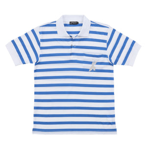 Men's Short Sleeve Cotton Sports Polo Shirt -16. Samurai Design Striped Blue & White Made in Japan