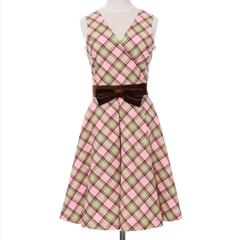 Ladies Wrap One Piece Dress Check Pattern Made in Japan (Pink)