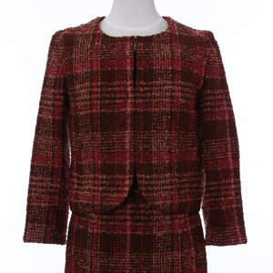 Ladies Loop Yarn Tweed Jacket Check Pattern Made in Japan (Brown)