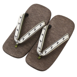 Men's Japanese Leather Soled Geta & Zori Sandals flip-flops Handmade with Silk Thongs -16. Samurai
