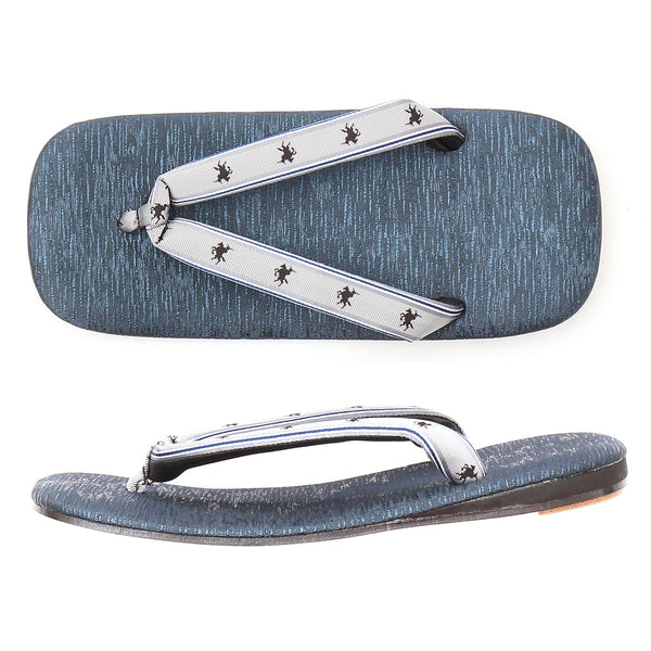 Men's Japanese Leather Soled Handmade Shiny Sandals with Silk Thongs -Mules & Clogs- Made in Japan