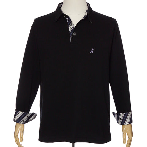 Men's Long Sleeve Cotton Sports Polo Shirt -16. Samurai Design Black Made in Japan
