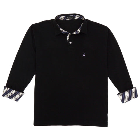 Men's Long Sleeve Cotton Sports Polo Shirt -16. Samurai- Samurai Design Black/Wine Red Made in Japan (M/L/LL)