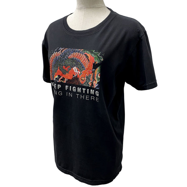 Disinfecting Cloth T Shirt Unisex 100% Cotton -Keep Fighting- Black Made in Japan