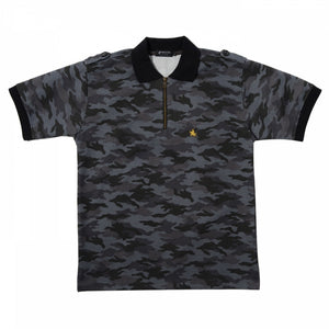 Men's Short Sleeve Sports Fashion Zipper Polo Shirt -19. MASAMUNE- Date Masamune Military Design Made in Japan (M/L/LL)