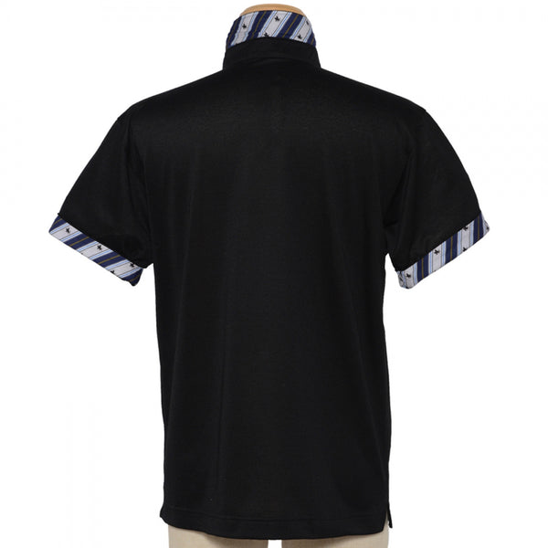 Men's Short Sleeve Sports Polo Shirt -19. MASAMUNE - Quick Dry Black Made in Japan