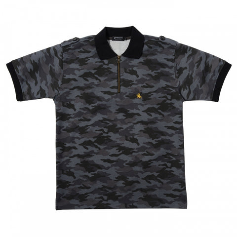 Men's Short Sleeve Sports Zipper Polo Shirt -19. MASAMUNE Date Military Design Made in Japan