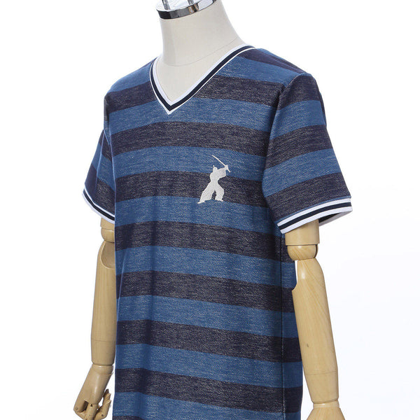 Men's Short Sleeve Cotton Fashion V-neck T-shirt -16. Samurai Striped Design Blue Made in Japan