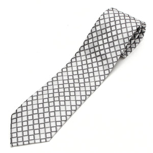 Men's Jacquard Woven 100% Nishijin Kyoto Silk Tie -23. Dragon- Shiny Plaid Pattern Made in Japan