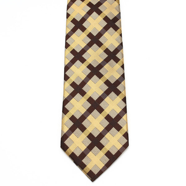 Men's Jacquard Woven 100% Nishijin Kyoto Silk Tie -22. Revival- Japanese Block plaid Made in Japan