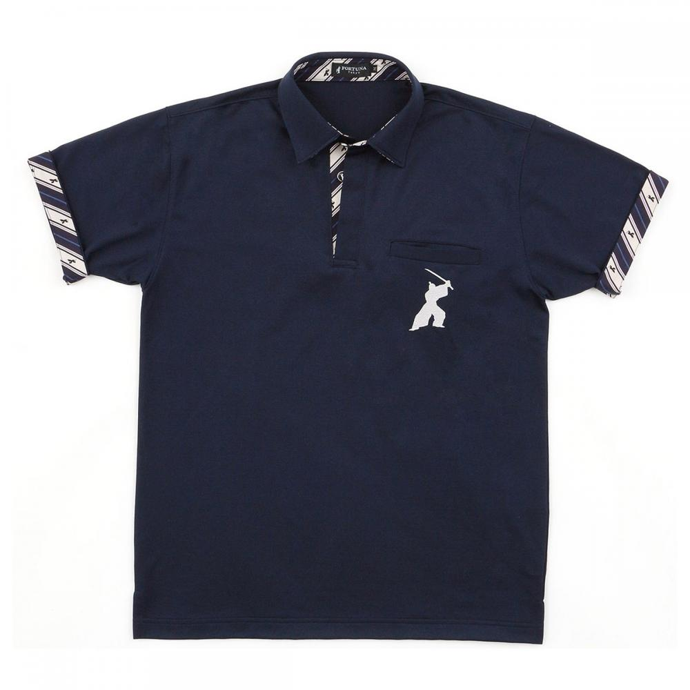 Men's Short Sleeve Sports Polo Shirt -16. Samurai- Quick Dry Made in Japan (Navy Blue))