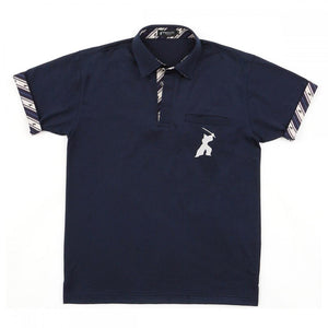Men's Quick Dry Sports Polo Shirt Short Sleeve with chest pocket 16. Samurai design Made in Japan