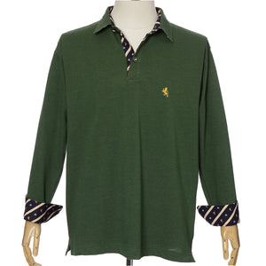 Men's Long Sleeve Sports Fashion Polo Shirt -08. King Lion & Crown Design Made in Japan