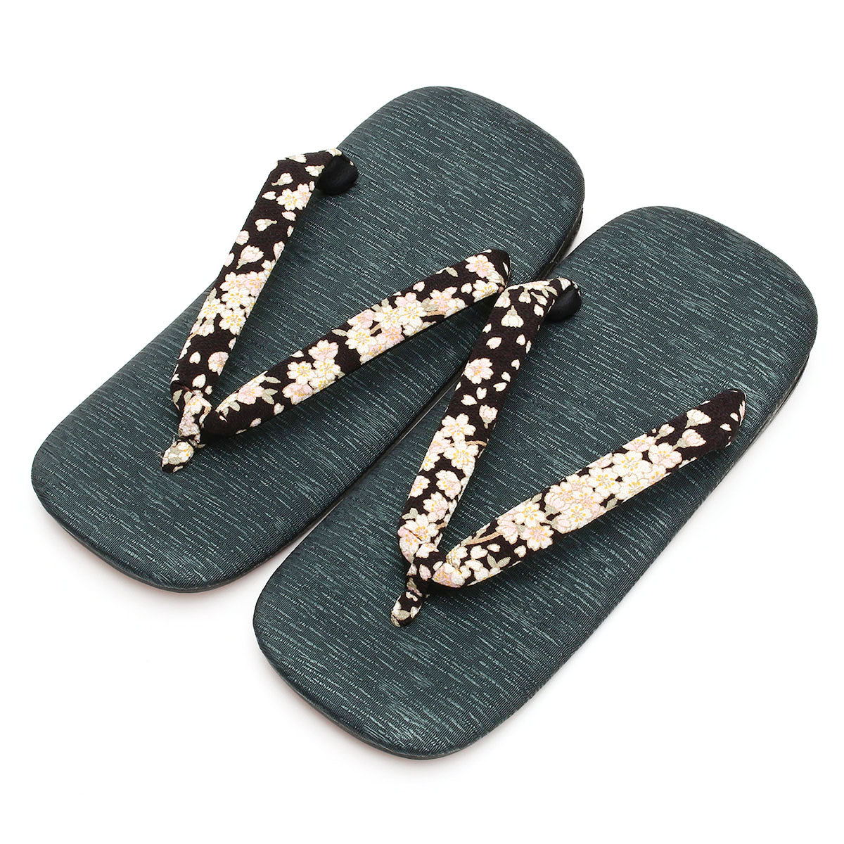 Men's Japanese Leather Soled Geta & Zori Sandals flip-flops Handmade -Sakura Cherry Blossoms