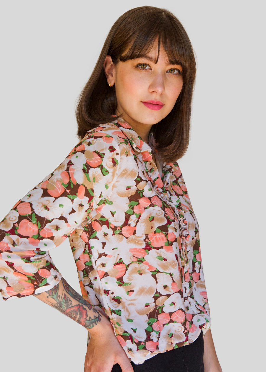 Brown, pink and green floral blouse