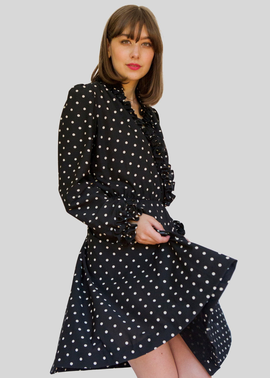 Lady Carol black polka dot dress