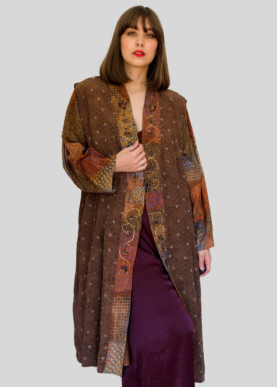 Brown robe with beading