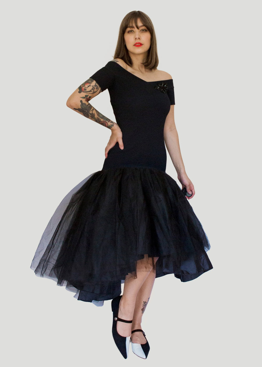 Black dress with huge tulle skirt