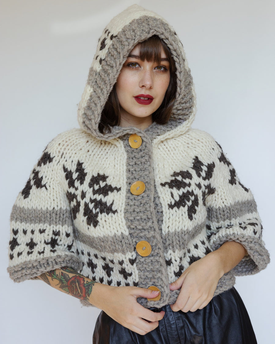 Sindee cropped Cowichan sweater