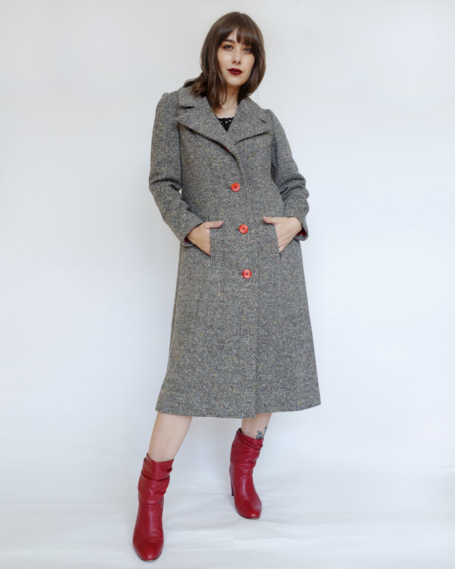 Tweed Coat with Red Buttons and Lining