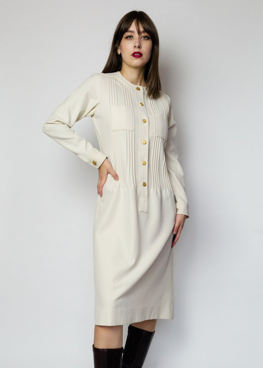 Albert Nipon Winter White Dress