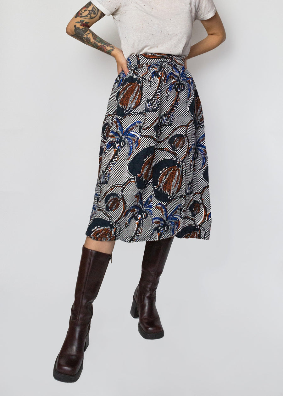 Blue, Black and Brown Tropical Skirt