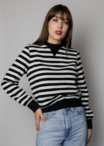 Vintage Black & White Striped Sweatshirt